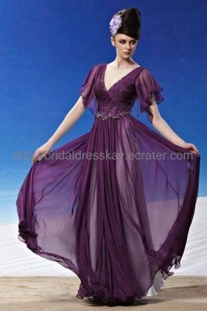 V-neck Purple Evening Dress