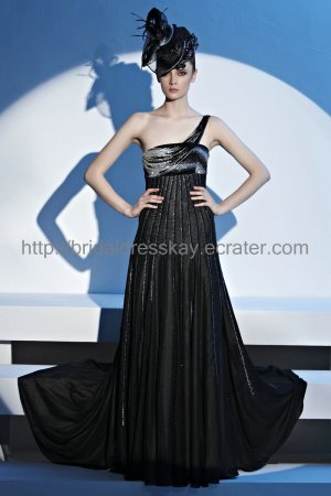 One shoulder Black Evening Dress Sexy Mother Dress