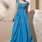 Cap Sleeve Blue Evening Party Dress