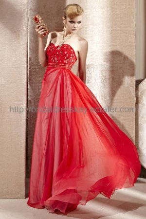 Empire Red Prom Dress Evening Party Dress