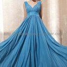 V-neck V-back Blue Evening Party Dress 2012