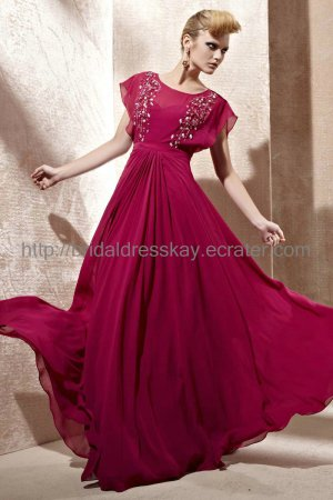 Cap Sleeve Red Evening Party Dress 2012