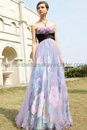 Empire Prom Dress Printed Evening Dress