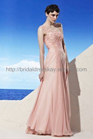 Sexy One shoulder Pink Evening Party Dress
