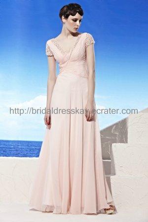 Short Sleeve Pink Prom Dress Evening Dress 2012