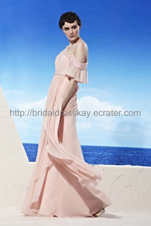 Sexy One shoulder Pink Evening Party Dress 2012