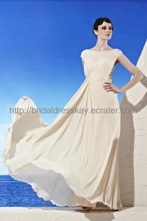 Modest Beaded Cap Sleeve Ivory Evening Dress