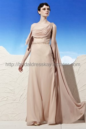 One Shoulder Beaded Evening Party Dress