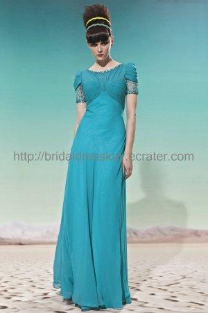 Short Sleeve Blue Green Evening Party Dress