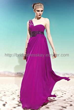 One shoulder Purple New Evening Dress