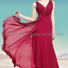 V-neck Red Bridal Party Dress
