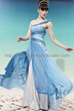 One Shoulder Blue Evening Dress 2012