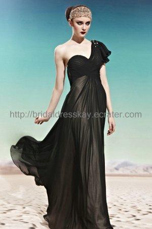 One Shoulder Black Evening Dress 2012