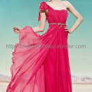 Simple One shoulder Red Evening Dress