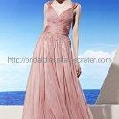 Deep V-neck Prom Dress Pink Bridesmaid Dress