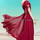 One Shoulder Long Prom Dress Red Bridesmaid Dress