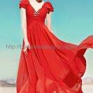 Deep V-neck Red Evening Dress Bridesmaid Dress
