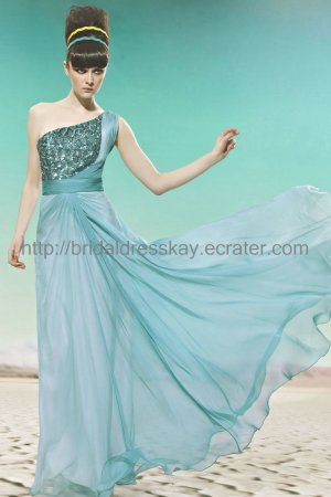 One Shoulder Green Evening Party Dress