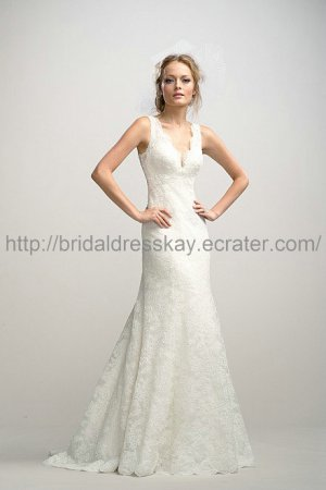 Slim White V-neck Lace Wedding Dress