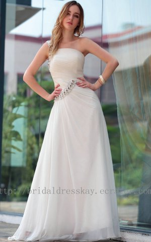 One Shoulder White Prom Dress Evening Party Dress