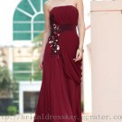 Empire Burgundy Prom Dress Evening Party Dress Bridesmaid Dress
