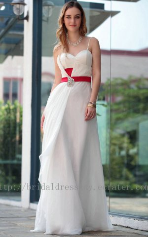Straps Sweetheart White and Red Silk Chiffon Prom Dress Evening Party Dress Bridesmaid Dress