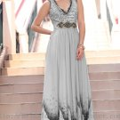 Floor Length V-neck Beaded Prom Dress Evening Party Dress Bridesmaid Dress