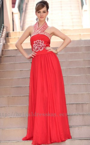 Halter Red Evening Party Dress Floor Length Bridesmaid Dress