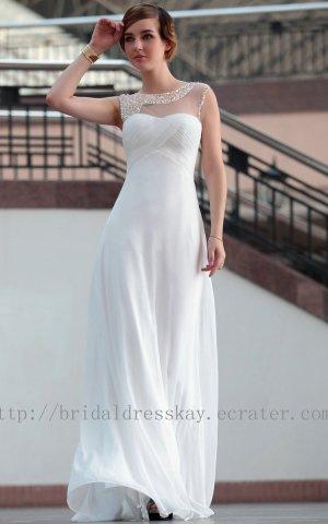 Modest White Beaded Evening Party Dress Floor Length Bridesmaid Dress Prom Dress