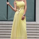 One shoulder Yellow Beaded Floor Length Evening Party Dress Bridesmaid Dress Prom Dress