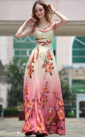 Modest Print Pink Evening Party Bridesmaid Prom Ball Dress