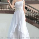 One Shoulder White Evening Party Gown Prom Ball Dress