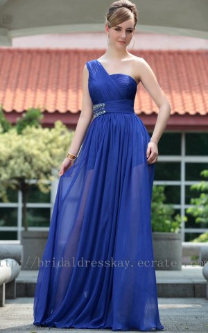 One Shoulder Blue Evening Party Gown Prom Ball Dress