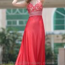 A line V-neck Red Evening Bridesmaid Prom Ball Party Dress