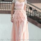 Cap Sleeve Pink Evening Dress Bridesmaid Prom Ball Party Gown
