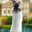 Full Length Halter White and Black Evening Dress Prom Party Gown