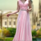 V-neck Pink Floor Length Bridesmaid Dress Evening Prom Party Gown