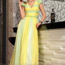 Short Sleeve Colorful Prom Evening Party Dress Gown
