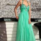 Halter Green Evening Party Prom Dress Wedding Bridesmaid Dress