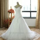 Custom A line V-neck Tulle & Lace Bridal Wedding Dress Gown