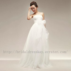 Floor Length Empire Strapless Bridal Wedding Dress Gown