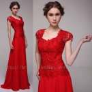 Custom Modest Floor Length Red Formal Party Dress