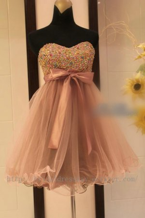 Sweetheart Tulle Cocktail Homecoming Party Dress