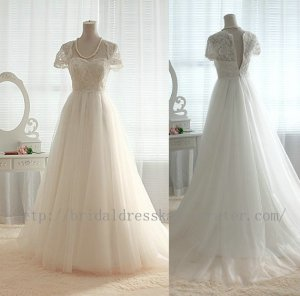 Vintage Lace Tulle Wedding Dress Bridal Gown Cap Sleeves Sweetheart Tulle Ball Gown Dress
