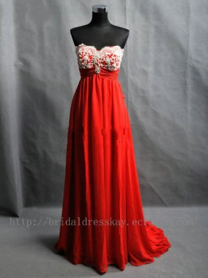 Red Empire Sweetheart Full length Bridesmaid Dress Evening party Dress