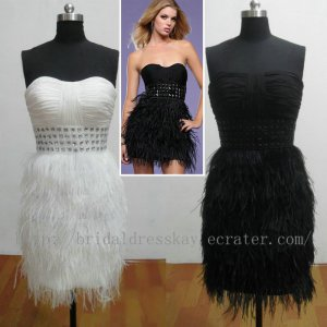 Sexy Feather Cocktail Dresses Evening Party Dress Gown