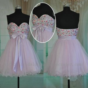 Sweetheart Knee Length Tulle Cocktail Dress Homecoming Party Dress
