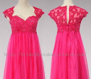 Cap Sleeve Tulle and Lace Evening Party Dress Bridesmaid Dress