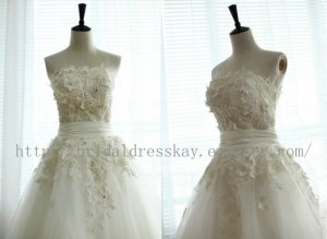 Custom Tea Length Tulle Strapless Bridal Wedding Dress
