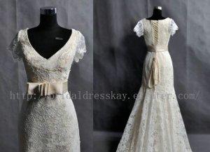 Vintage Mermaid Short Sleeve V-neck Lace Wedding Dress Gown